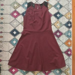 Maroon Fit & Flare Dress